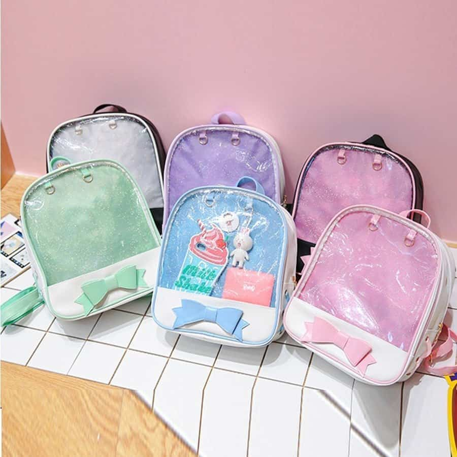 Clear Women's Lolita Backpack with Bow