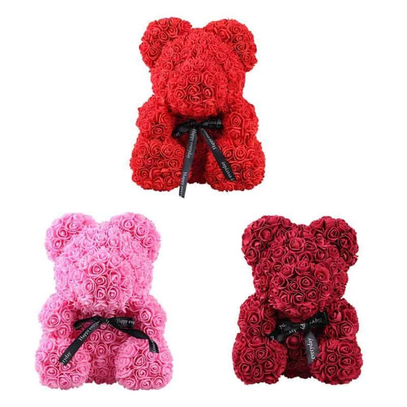 40/25cm Artificial Rose Flower Teddy Bear 1