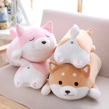 font and back view of cute fat shiba inu plush toy