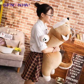 Woman Hugging a Giant Shiba Inu Plush