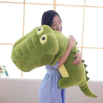 woman hugging a kawaii giant stuffed alligator toy