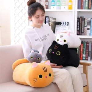 Woman with her Cute Cat Plush Pillow