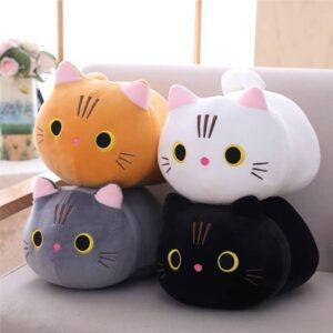 four cat plush toys - orange, white, black and gray