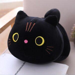25 cm Open Eyes Black Cat Plush Pillow