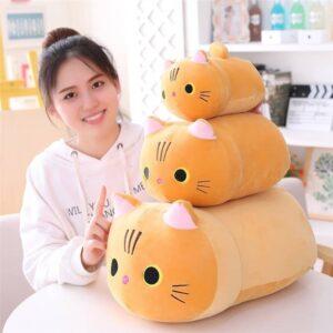 Multiple Sizes of Open Eyes Orange Cat Plush Pillow