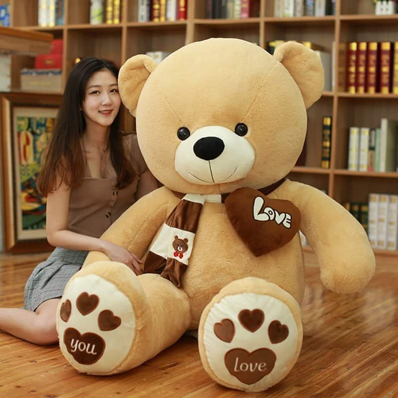 Large Love Teddy Bear With Scarf