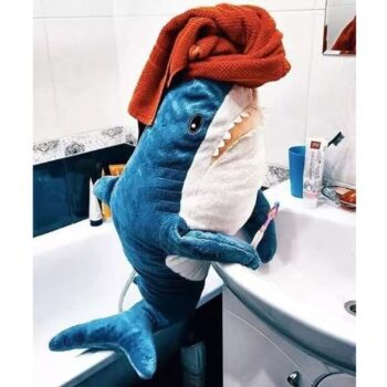 Kawaii Japanese Shark Plush Toy in the bathroom