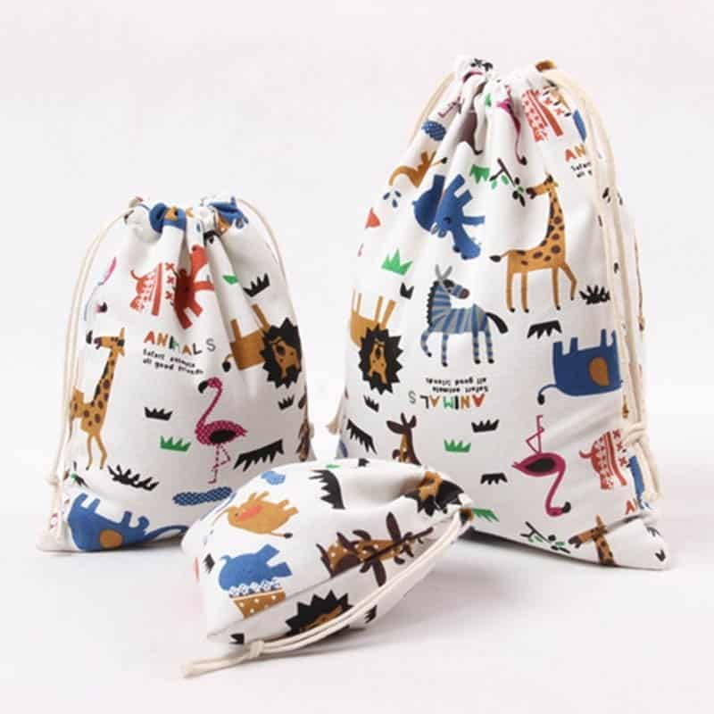 Animal Print Design Drawstring Toy Storage 1