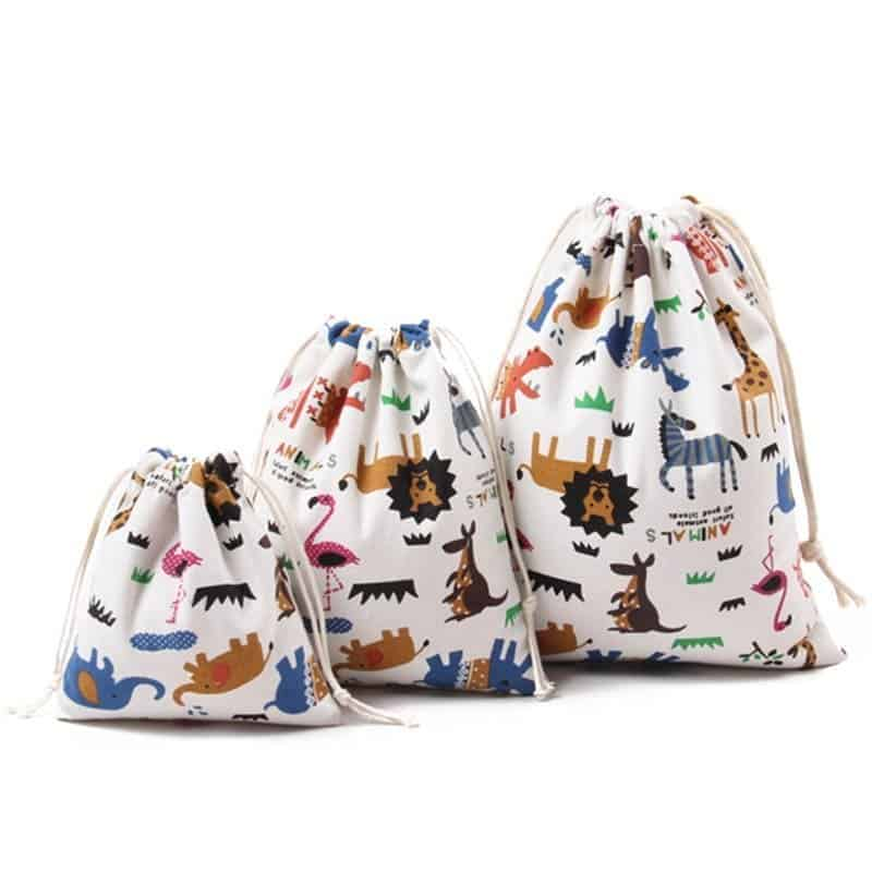 Animal Print Design Drawstring Toy Storage 2