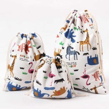 Animal Print Design Drawstring Toy Storage