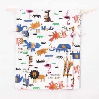 Animal Print Design Drawstring Toy Storage