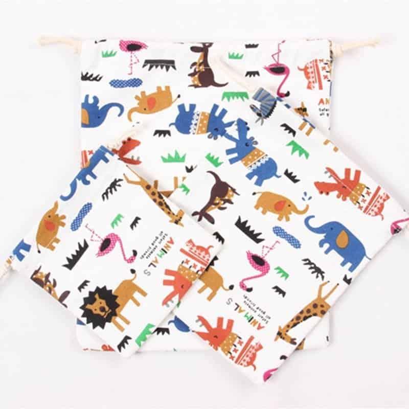 Animal Print Design Drawstring Toy Storage 4
