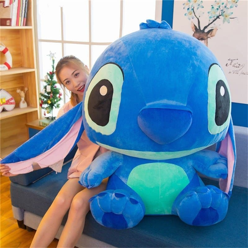 woman hiding at the back of stitch plush pillow