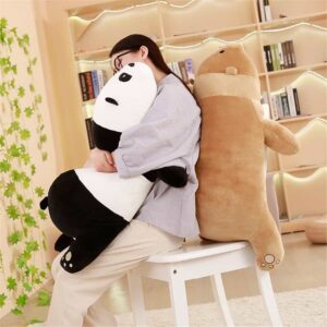 Hugging a panda bear while back resting on a brown bear