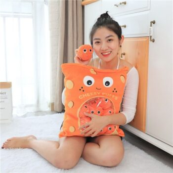 Woman hugging a cheese puff stuffed toy