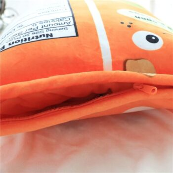 Zipper on the side of cheese puff pillow