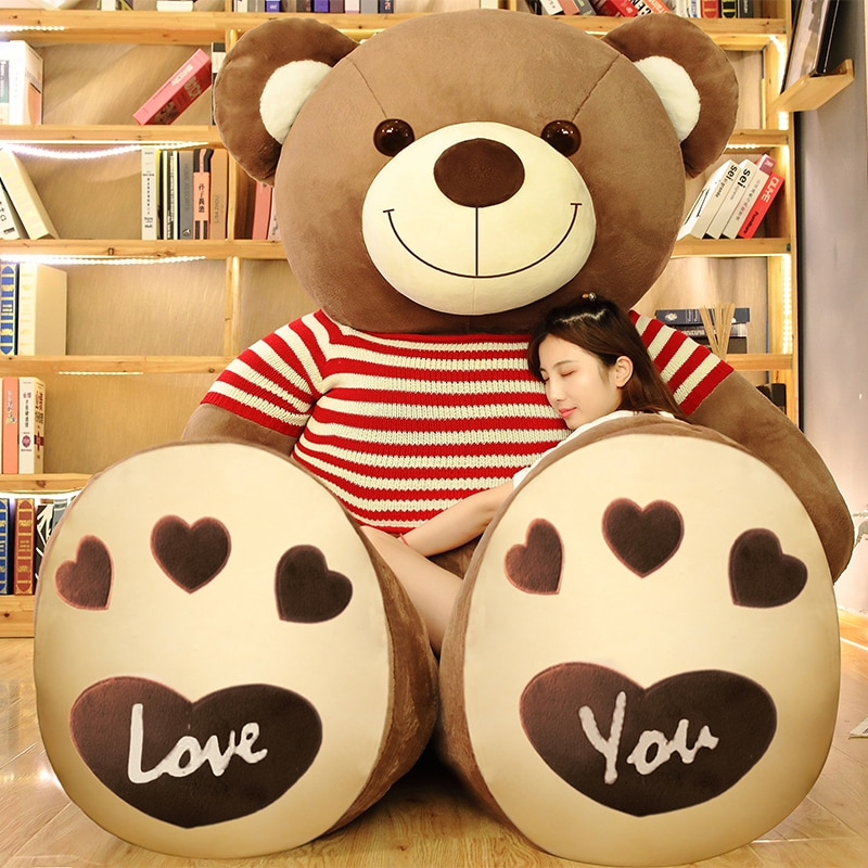 Giant Red and Blue Teddy Bear with Sweater