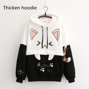 Harajuku Kawaii Cat Women Hoodies - Black Hoodie, One Size