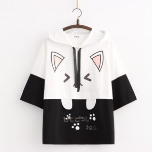 Harajuku Kawaii Cat Women Hoodies - Black Short Sleeve, One Size