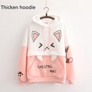 Harajuku Kawaii Cat Women Hoodies - Pink Hoodie, One Size