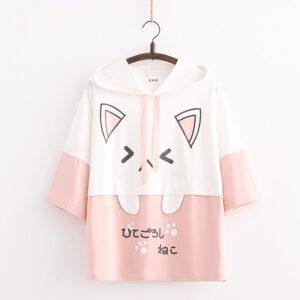 Harajuku Kawaii Cat Women Hoodies - Pink Short Sleeve, One Size