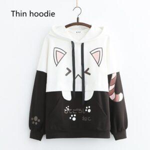 Harajuku Kawaii Cat Women Hoodies - Thin Black Hoodie, One Size