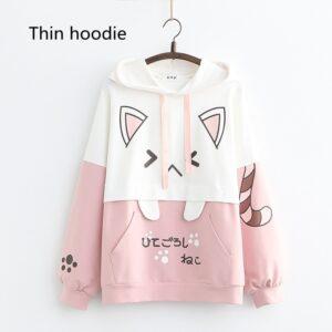 Harajuku Kawaii Cat Women Hoodies - Thin Pink Hoodie, One Size