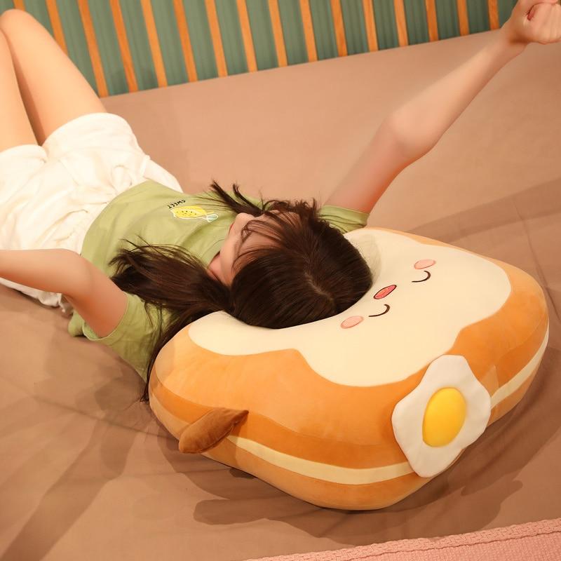 Woman Sleeping on a Kawaii Japanese Loaf Bread Plush