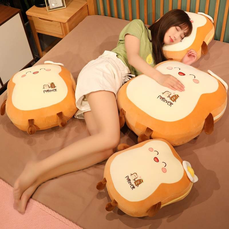 Woman sleeping on four Kawaii Japanese Loaf Bread Plush