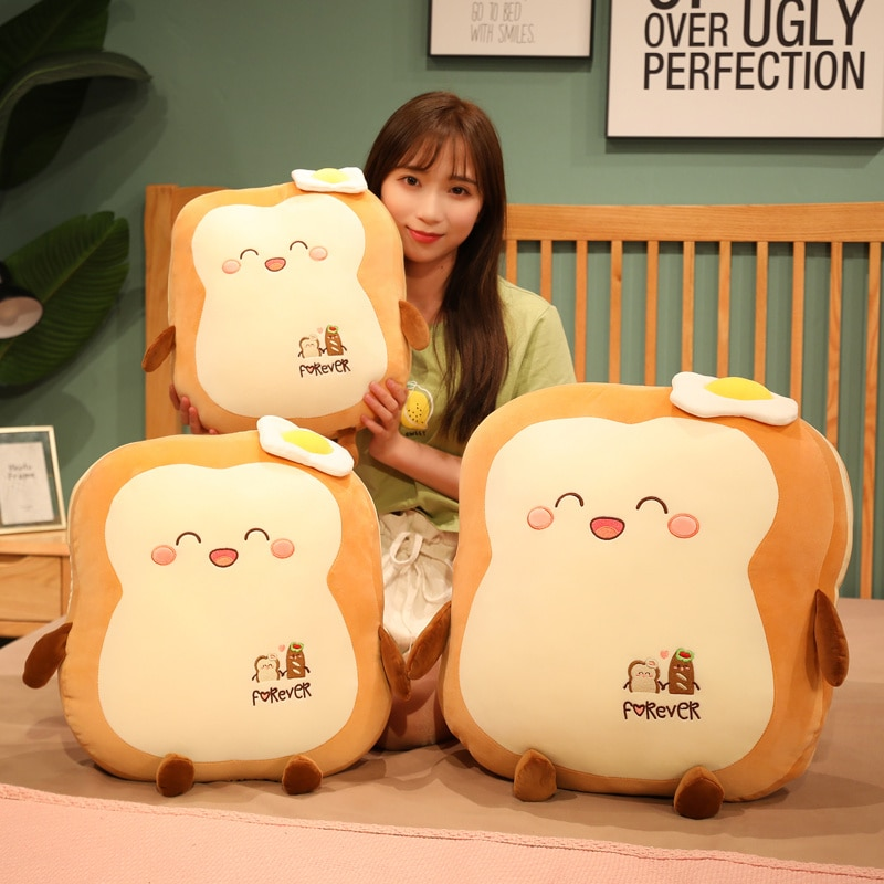Woman smiling while holding a Kawaii Japanese Loaf Bread Plush