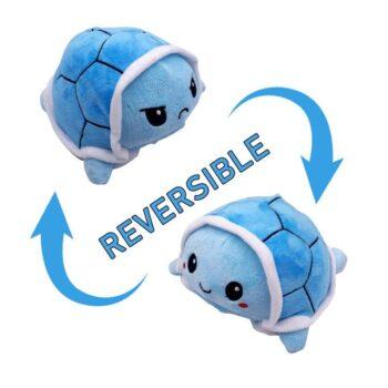 Reversible Turtle Mood Plush - 10 cm - blue