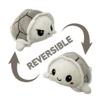 Reversible Turtle Mood Plush - 10 cm - grey