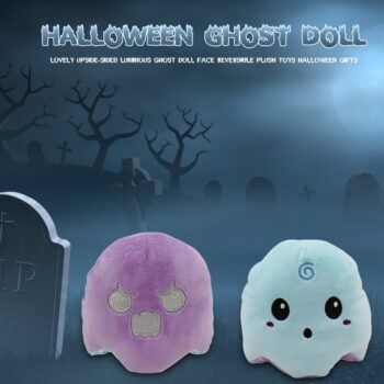 blue and purple Halloween Reversible Ghost Plush