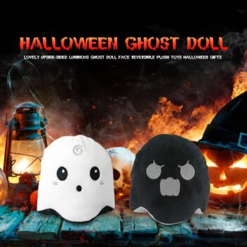 black and white Halloween Reversible Ghost Plush