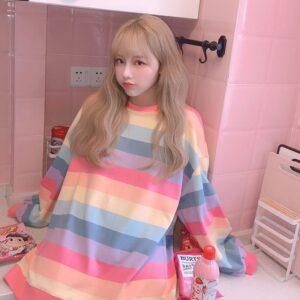 Harajuku Style Kpop Striped Loose Sweatshirt