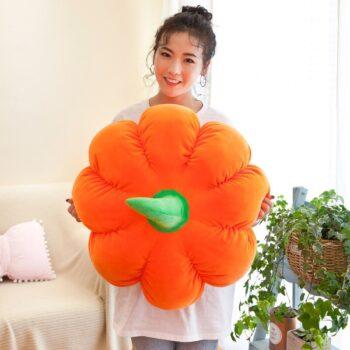 Woman holding a Plush Pumpkin