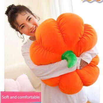 Woman hugging a Plush Pumpkin